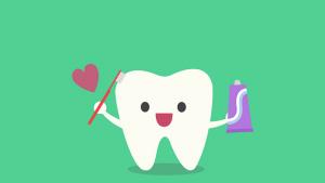 شکل انیمیشنی یک دندان در حال مسواک زدن