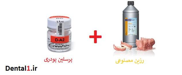 در کامپوزیت از پرسلین پودر و رزین مصنوعی استفاده می شود